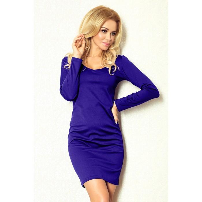 Klasické modré púzdrové úpletové šaty 92-5 7e5053ba6a0