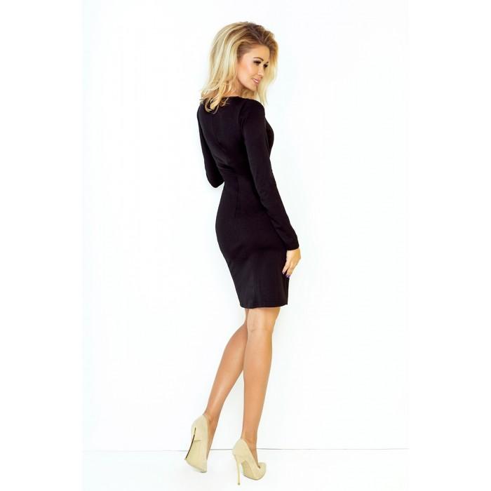745cb8a3e091 Klasické čierne púzdrové úpletové šaty 92-2