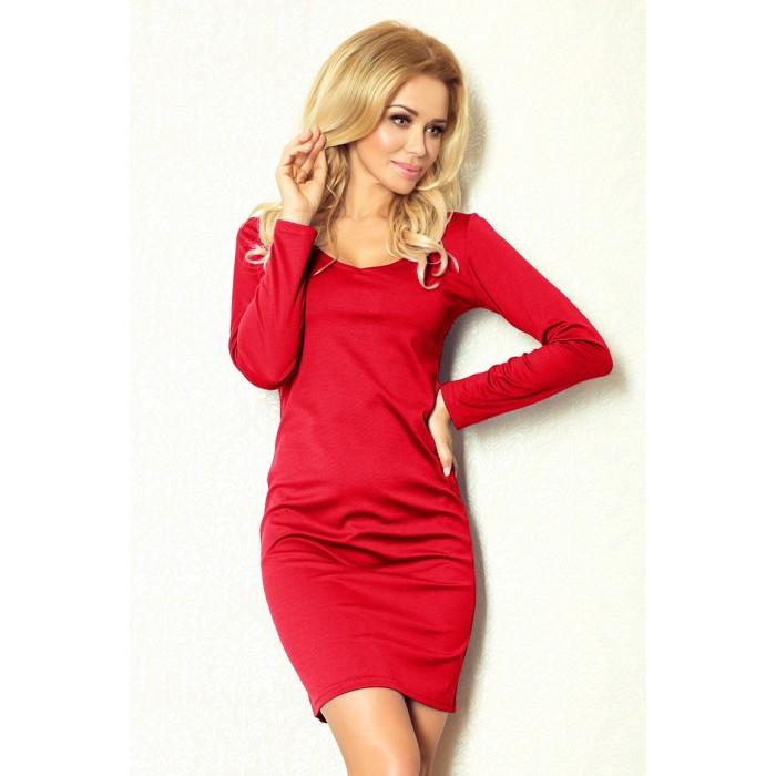 07801e27ec98 Klasické červené púzdrové úpletové šaty 92-5