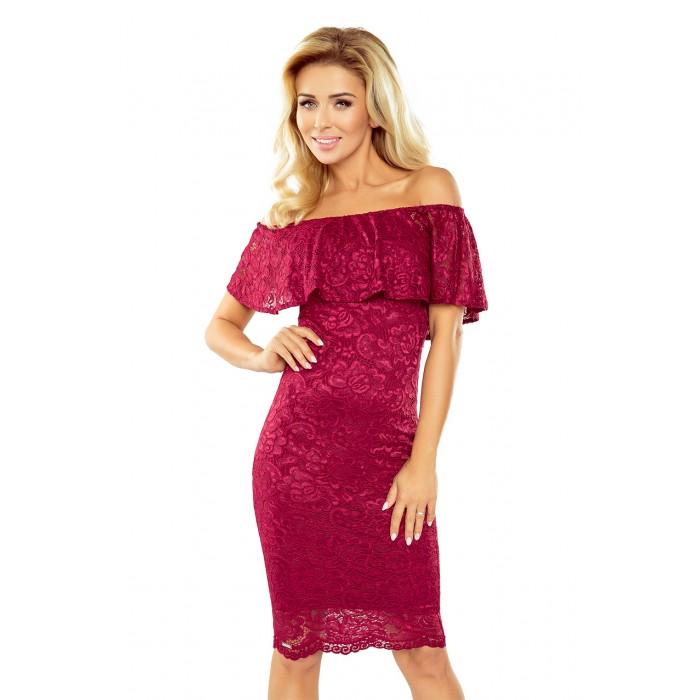 Bordové čipkované púzdrové šaty s volánom HISPANSKA MM013-3 137d27b14cd