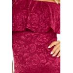 Bordové čipkované púzdrové šaty s volánom HISPANSKA MM013-3