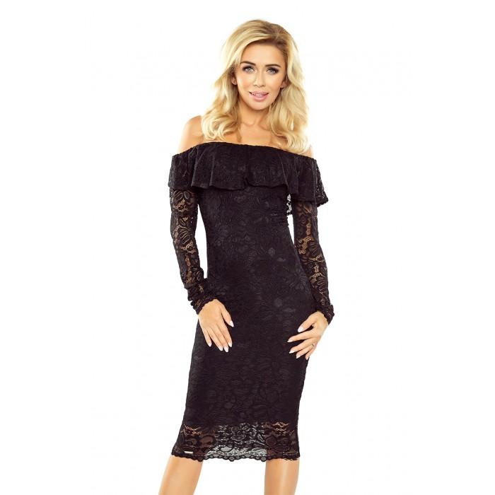Čierne čipkované púzdrové šaty s volánom HISPANSKA MM021-1 4cb7b7ca0d1