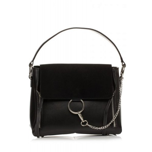 Čierna elegantná kabelka s bočnými zipsami SB370