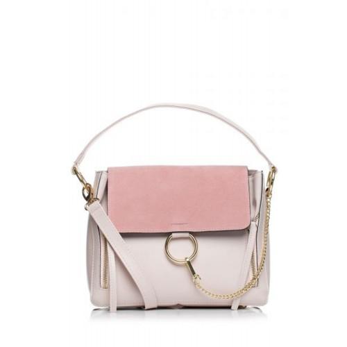Púdrovoružová elegantná kabelka s bočnými zipsami SB370