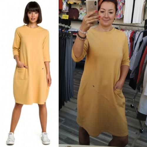 Žlté oversize šaty s 7/8 rukávom a vreckom B083