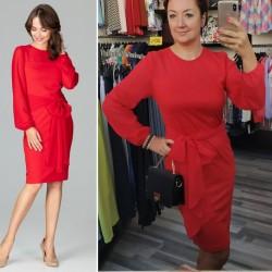 Červené elegantné púzdrové šaty so šifónom a viazaním K494