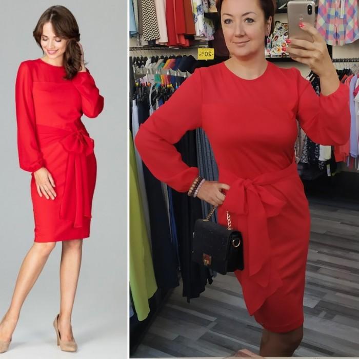 33b429f14e6c Červené elegantné púzdrové šaty so šifónom a viazaním K494