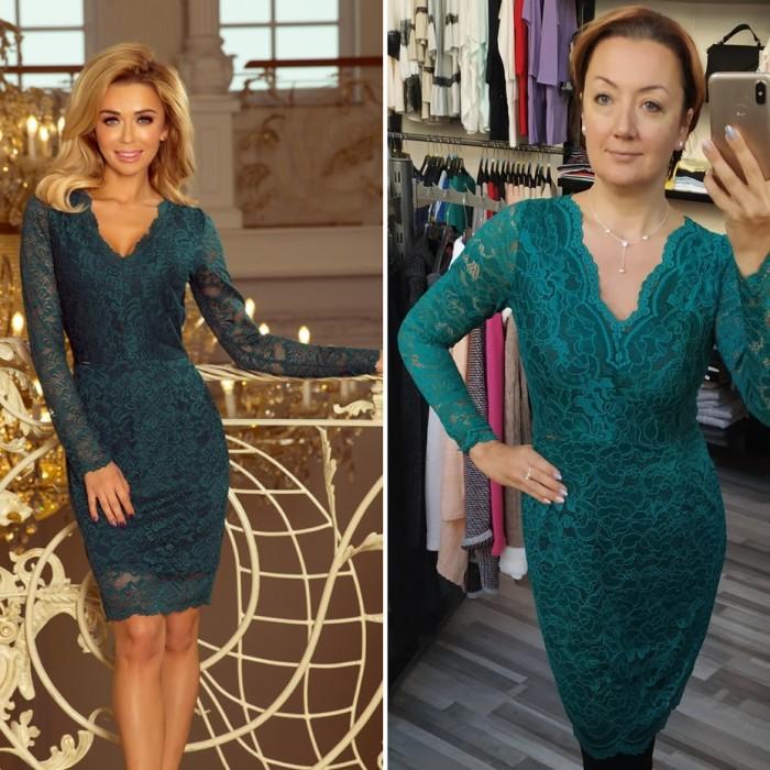 93fa3906d20f Zelené čipkované šaty s dlhým rukávom a