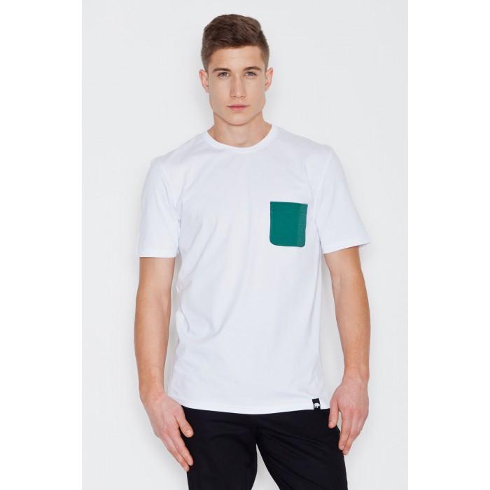 567207aae7fa Biele pánske tričko s vreckom a krátkym rukávom V002