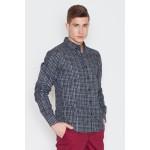 Pánska kockovaná košeľa Grey-check V010