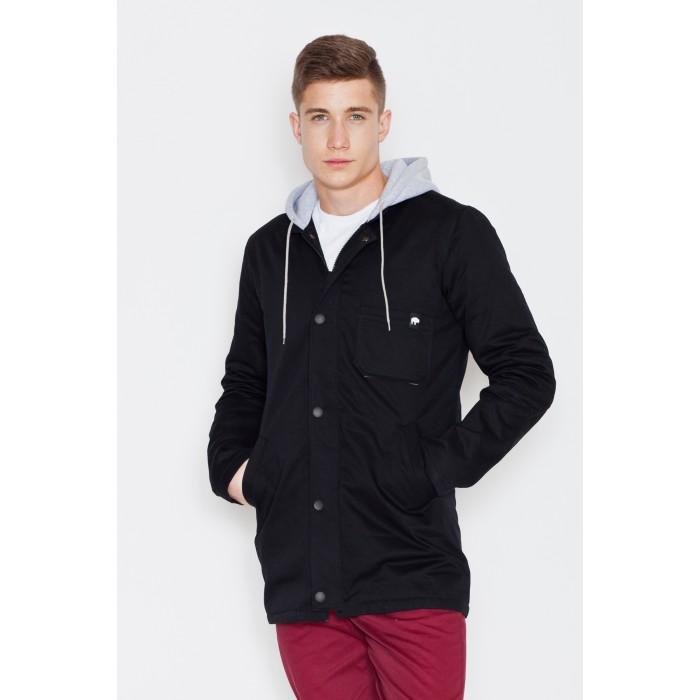 Pánska čierna predĺžená bunda s kapucňou V013 3ec62b3211c