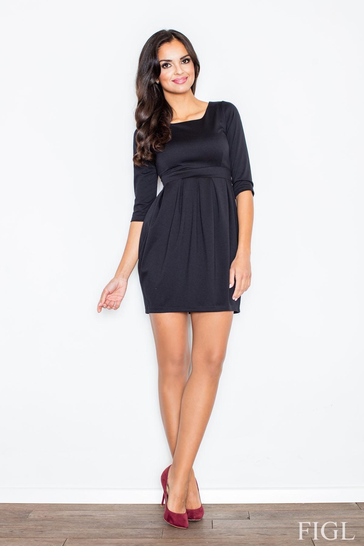 Dámske čierne púzdrové šaty s balonovou sukňou M122 86deeb8ffd4