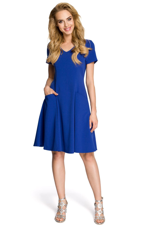 Dámske modré šaty v línii A MOE 233 d7e1ad62dd8