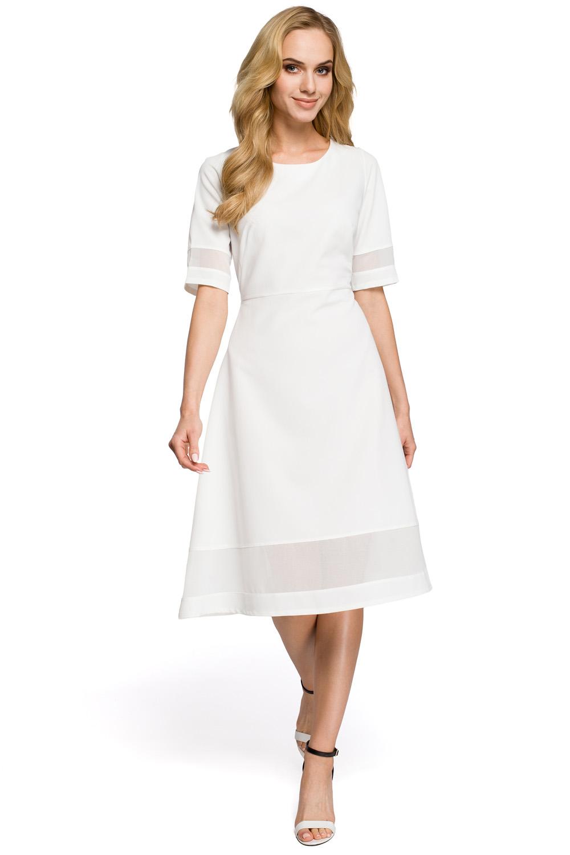 Jednoduché biele áčkové šaty s tylom MOE272 b8ed32702de