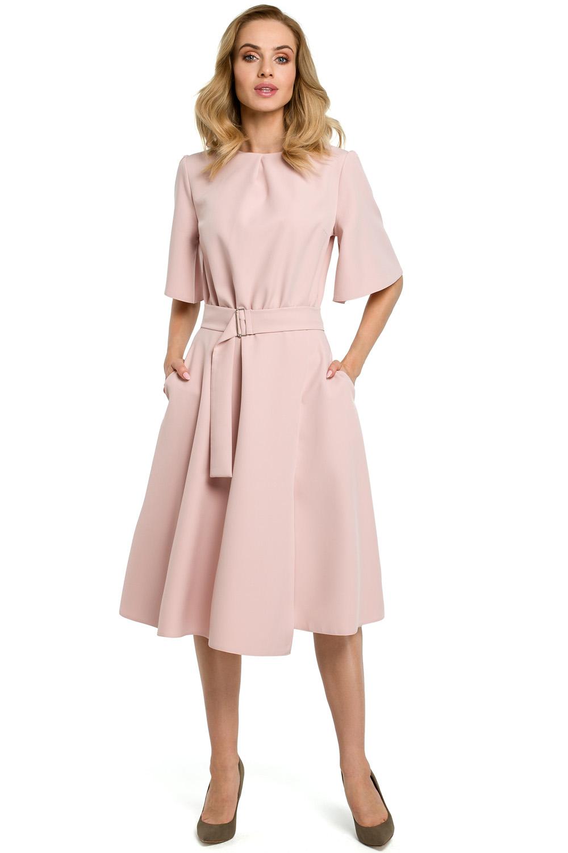 púdrovo ružové šaty v a línii MOE396
